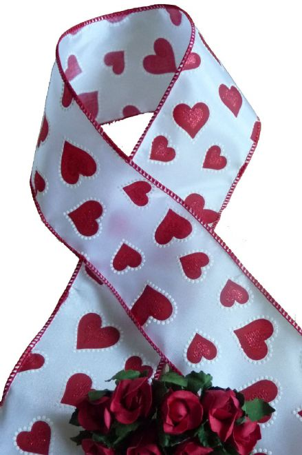 Luxury wire edge ribbon white with red heart design, Valentines Day, Engagements, Weddings, Christmas etc